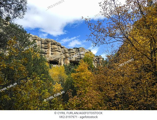 Two large caves used by ancient indian peoples as dwelling places, New Mexico , Gila National Forest