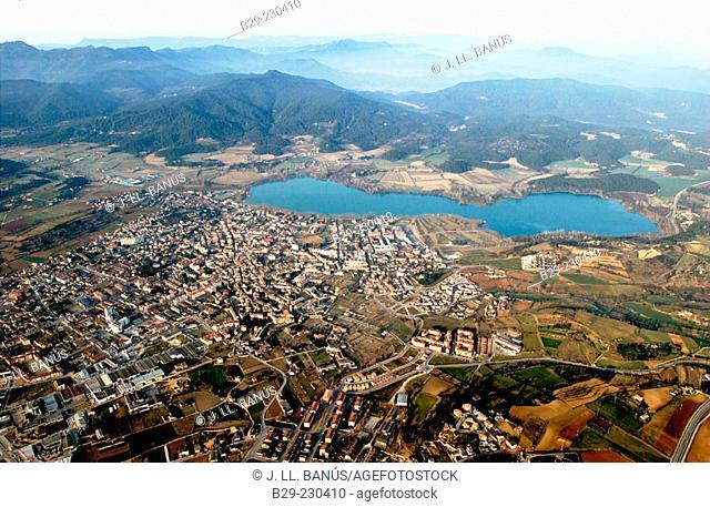 Lake and town, Banyoles. Girona province. Spain