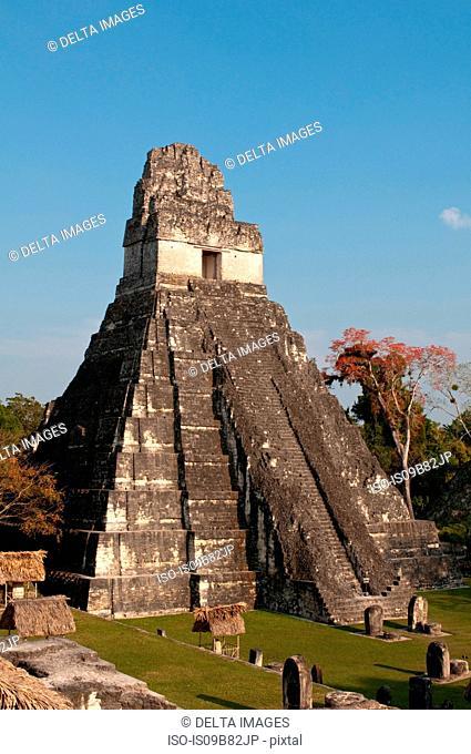 Gran Plaza and Temple I, Tikal mayan archaeological site, Flores, Peten, Guatemala