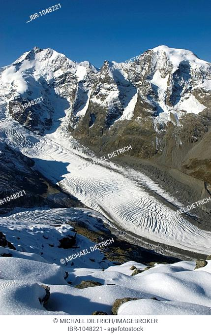 Mt Piz Bernina, 4048 m, only mountain above 4000 m and highest mountain of the Eastern Alps, and Mt Piz Morteratsch, 3751 m, Buender Range