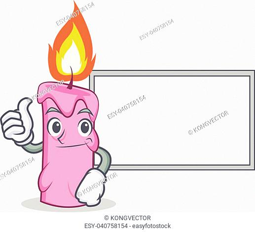 Thumbs up with board candle character cartoon style vector illustration