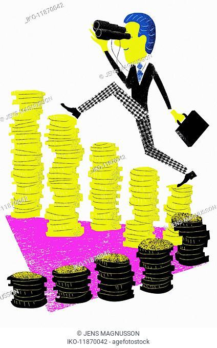 Successful businessman looking through binoculars ascending increasing piles of money