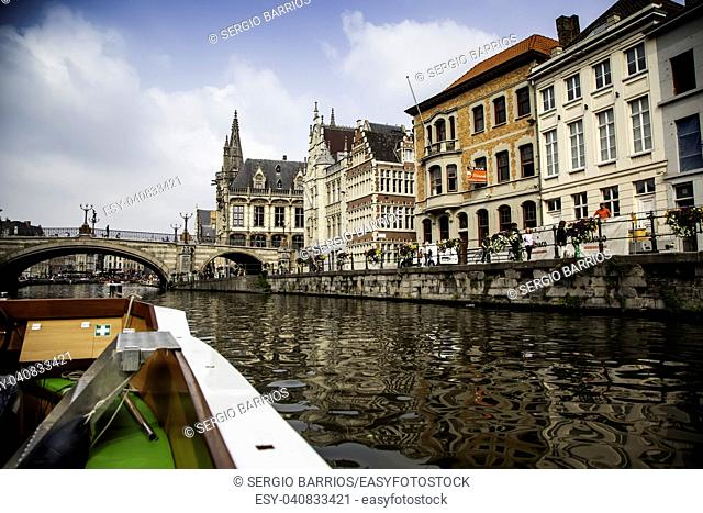 Boat in the city of Ghent, detail sightseeing boat, city tour through the canals