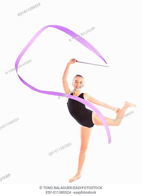 Kid girl ribbon rhythmic gymnastics exercise on white background