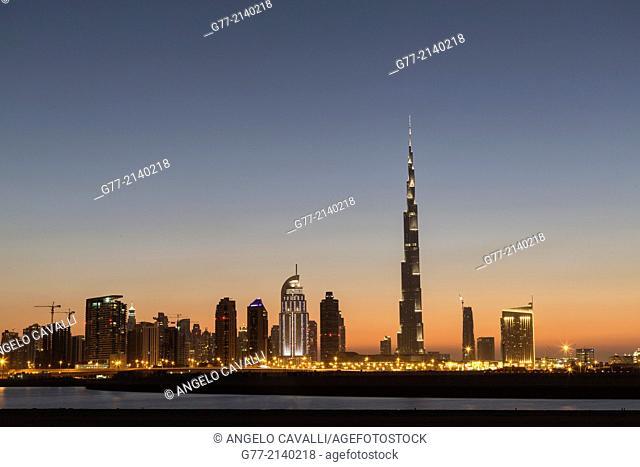 Dubai Skyline with Burj Khalifa Tower, Dubai, United Arab Emirates (UAE)