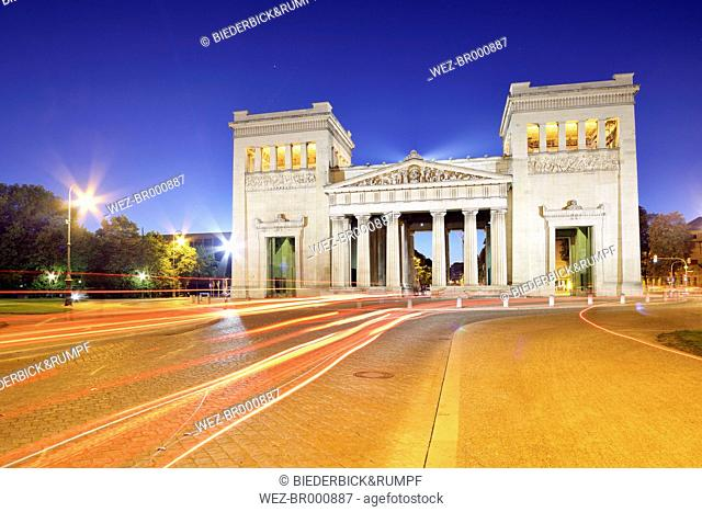 Germany, Bavaria, Munich, Propylaea at Koenigsplatz at blue hour