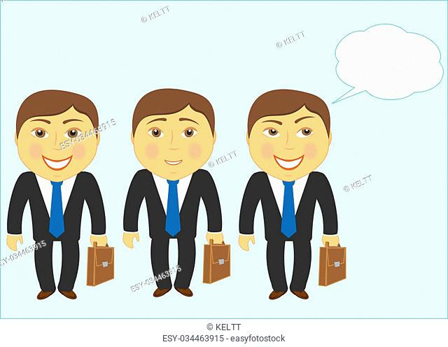 set isolated cartoon mans with other faces and space for text