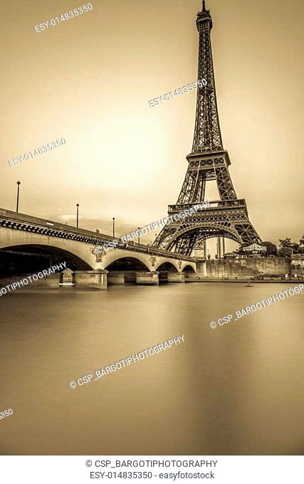 Long Exposure of Eiffel Tower and Seine River at sunset
