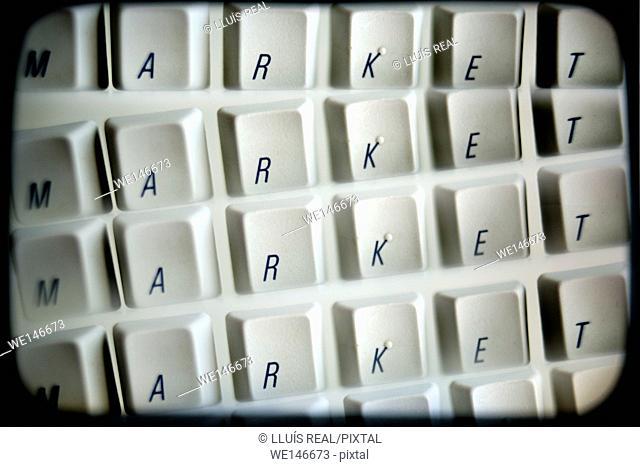 teclas de ordenador con la palabra Market repetido varias veces, computer keys with the word Market, repeated several times