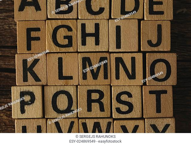Words. Toy bricks on the table