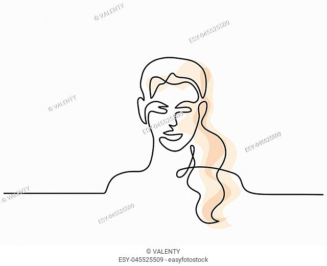 Vector continuous line. Abstract portrait of young woman light colors. Vector illustration. Concept for logo, card, banner, poster, flyer