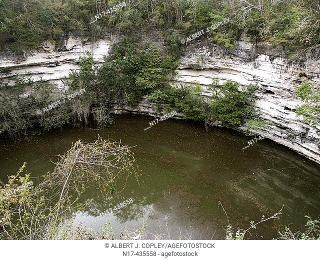 Sacred Cenote, Mayan ruins of Chichen Itza. Yucatan, Mexico