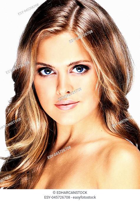 beauty girl with makeup brushe