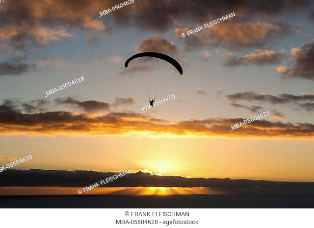 Paraglider, evening mood at the Atlantic, Puerto Naos, island La Palma, Canaries island, aerial picture, Spain