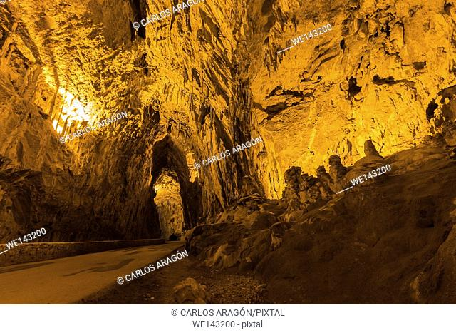 Inside of the Cuevona, this cave is the only access to the village of Cuevas del Agua, Asturias, Spain