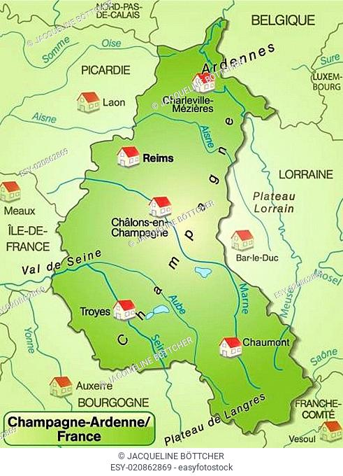 Map of champagne ardenne Stock Photos and Images | age fotostock Champagne Ardenne Map on