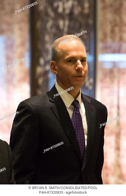 Dennis A. Muilenburg, president and chief executive officer of The Boeing Company, arrives to Trump Tower on January 17, 2017 in New York City. U.S
