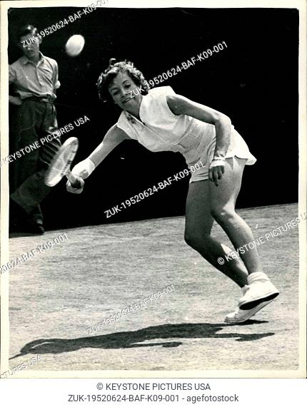 Jun. 24, 1952 - Wimbledon - Second Day.Miss Lorna Corwell Plays with Bandaged Elboy - Keystone Photo Shows:- Miss Lorna Cornell of Great Britain in Play during...
