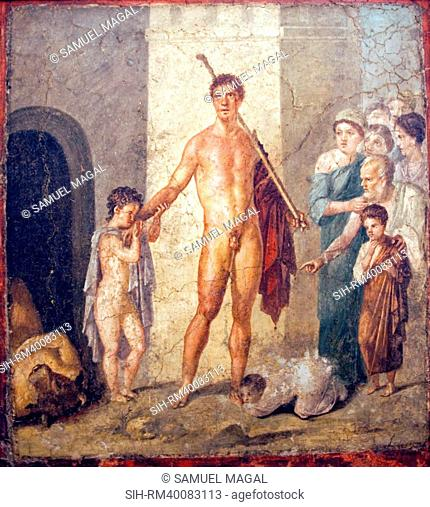 The fresco, painted in the Fourth Style, shows the conclusion of the famous episode in which the Greek hero Theseus kills the Minotaur and the simultaneous...