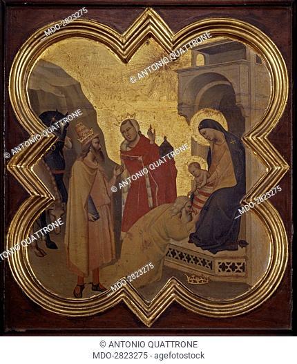 Adoration of the Magi (Adorazione dei Magi), by Taddeo Gaddi, 1335-1340, 14th Century, tempera and gold on board, 42,5 x 44 cm