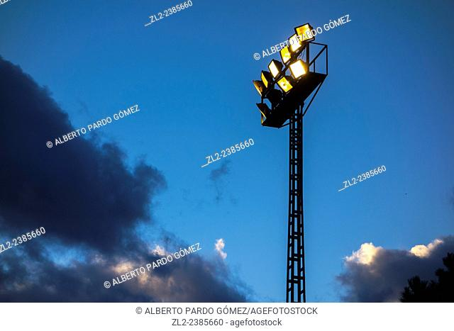 Lamp of a football field in valencia, Spain