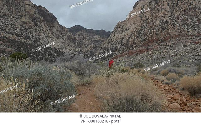 Woman running on trail in inclement weather, Red Rock Canyon, Nevada, USA