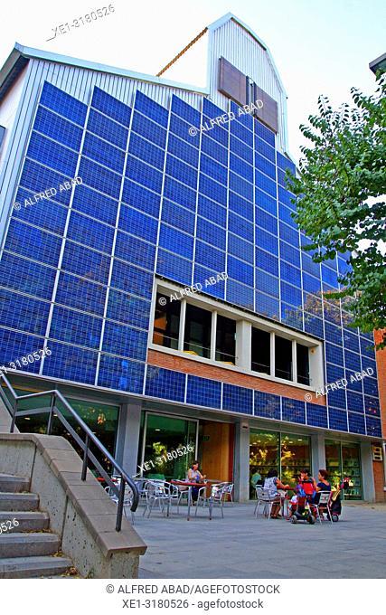 solar panels, building of the Francesc Candel library, Barcelona, Catalonia, Spain
