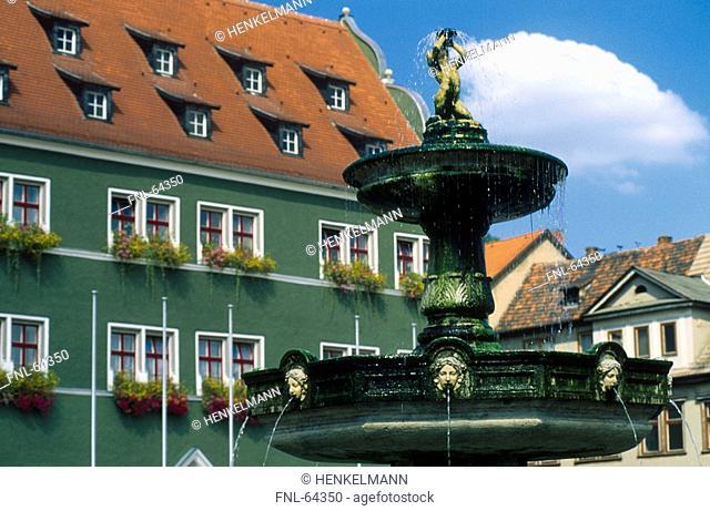 Fountain near town hall, Rudolstadt, Thuringia, Germany