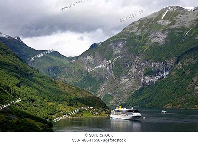 Cruise ship in the sea, Geirangerfjord, More og Romsdal, Sunnmore, Norway