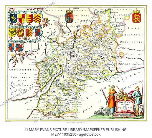 Map of Gloucestershire by Johan Blaeu
