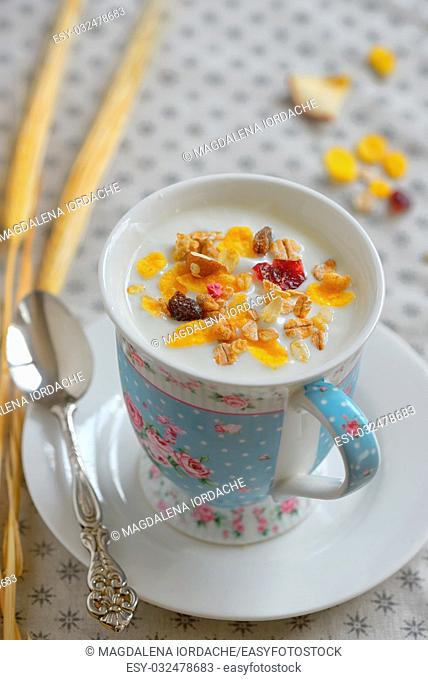 Cup of yogurt with crunchy cereals