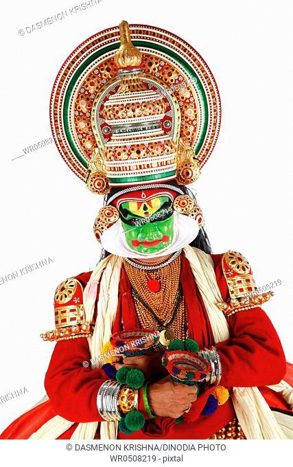 South Indian kathakali dancer performing , Kerala , India MR761C