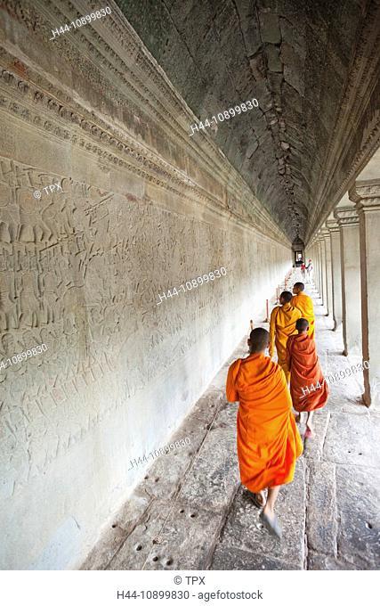 Asia, Cambodia, Siem Reap, Angkor, Angkor Wat, Angkor Wat Temple, Prasat Angkor Wat, Bas-reliefs, Reliefs, Ramayana, Suryavarman II, Monk, Monks