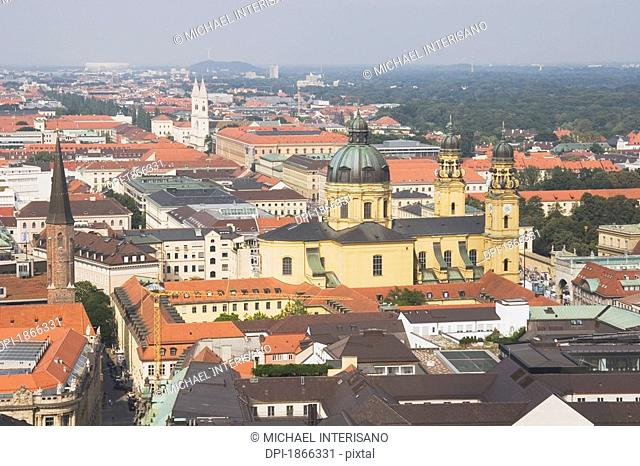 theatine church in the distance, central munich, germany