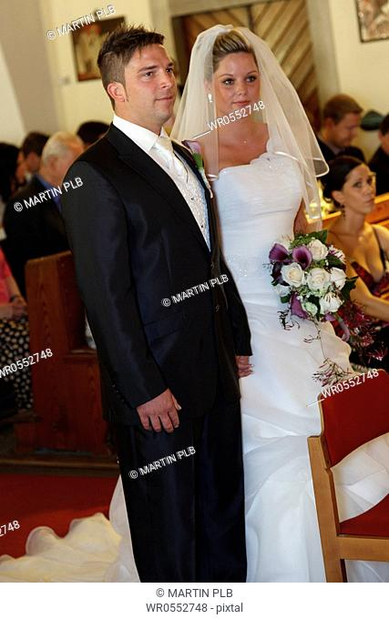 bridal couple in church