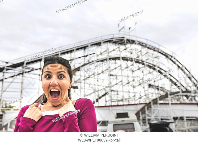 USA, New York, portrait of excited woman at Coney Island