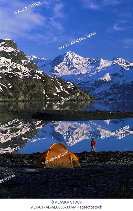 Tent & person Tarr Inlet West Arm Southeast Alaska summer scenic w/ & w/o tent