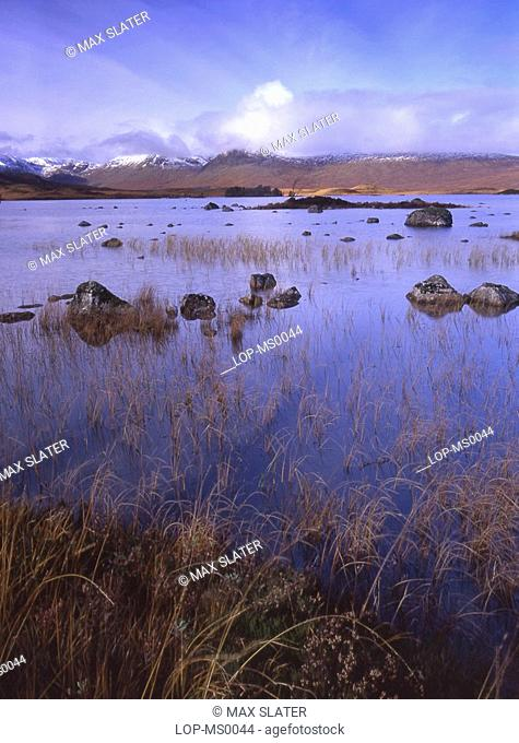 Scotland, Argyll and Bute, Rannoch Moor, View of Black Mountains across Rannoch Moor