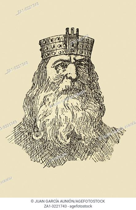 Wamba, king of the Visigoths from 672 to 680. Draw from book Enciclopedia Autodidactica published by Dalmau Carles in 1954