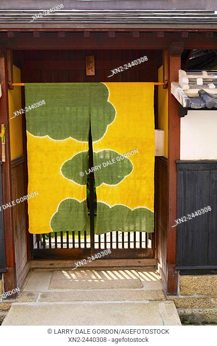 Traditional Japanese Noren (Door Cover) Made of Silk. Kyoto. Japan