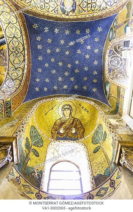 Ceiling with the Byzantine mosaics and the Christ Pantocrator in Church of Martorana. Palermo, Sicily. Italy