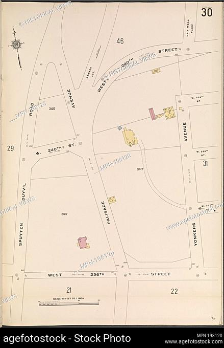 Bronx, V. 13, Plate No. 30 [Map bounded by W. 240th St., Yonkers Ave., W. 236th St., Spuyten Duyvil Rd.]. Sanborn Map Company (Publisher)