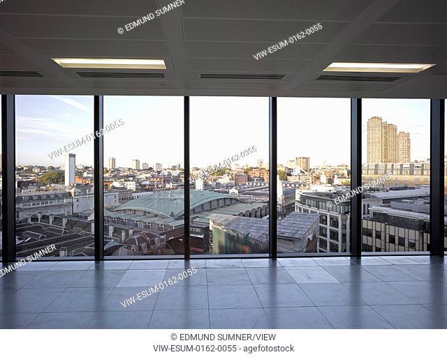 60 London at Holborn Viaduct, London, United Kingdom. Architect: Kohn Pedersen Fox Associates (KPF), 2014. View towards Smithfield from upper level