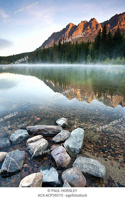 Sunrise over Yellowhead Lake and Yellowhead Mountain in Mt. Robson Provincial Park, British Columbia, Canada