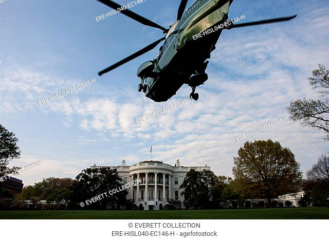 HMX-1 'Nighthawks' helicopter squadron practice landing on the South Lawn of the White House. March 30, 2012. (BSLOC-2015-13-134)