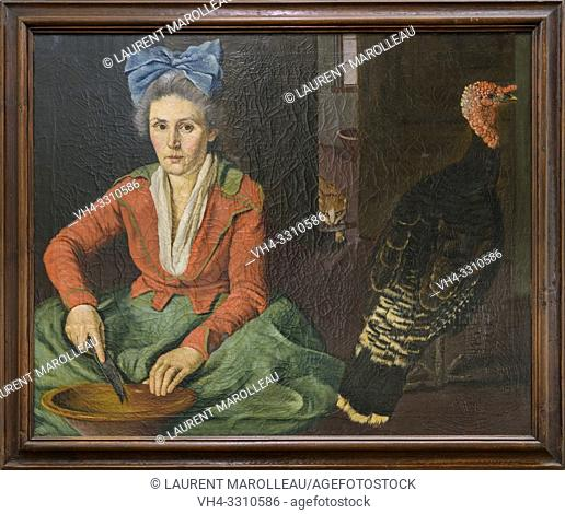 A Woman and a turkey by Jose Antonio Benedito Soares de Faria e Barros called O Morgado de Setubal (1752-1809), Oil on canvas Portuguese School (1792)