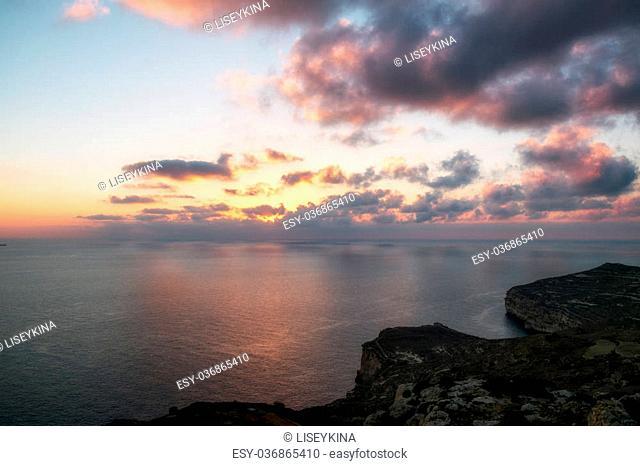 dingli cliffs on Malta island at sunset
