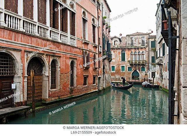 Canal with Gondola and Palazzi, Sestiere San Marco, Venice, Veneto, Italy