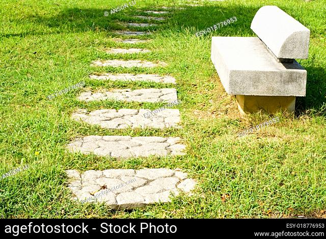 Stone walkway and stone bench