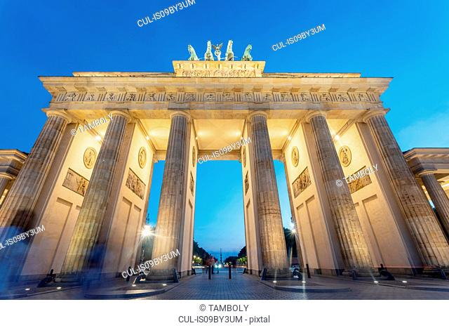 Brandenburg Gate against blue sky at sunset, low angle view, Berlin, Germany